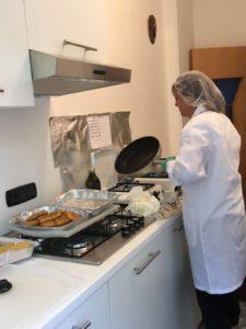 la cucina durante una degustazione